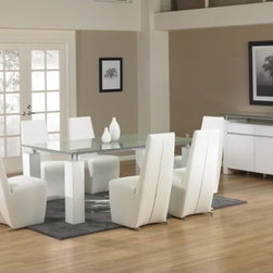 """Star International - Tiffany Dining Table with Crackle Glass - Features: -Dining table. -Ritz collection. -Contemporary style. -0.75"""" Thick crackle glass construction. -Manufacturer provides one year limited warranty. -Dimensions: 39"""" Height x 75"""" Width x 42"""" Depth."""
