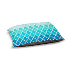 """DiaNoche Designs - Dog Pet Bed Fleece - Aqua Ombre Quatrefoil - DiaNoche Designs works with artists from around the world to bring unique, designer products to decorate all aspects of your home.  Our artistic Pet Beds will be the talk of every guest to visit your home!  BARK! BARK! BARK!  MEOW...  Meow...  Reallly means, """"Hey everybody!  Look at my cool bed!""""  Our Pet Beds are topped with a snuggly fuzzy coral fleece and a durable underside material.  Machine Wash upon arrival for maximum softness.  MADE IN THE USA."""