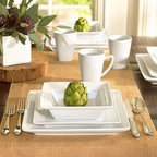 Great White Square Dinnerware, 16-Piece Set - Our grandly proportioned Great White Square Dinnerware is designed to present food at its best. Beautiful for entertaining, yet durable enough for everyday use. Made of high-fired, hand-glazed porcelain. Coordinates with our Great White Dinnerware. Microwave and dishwasher safe.