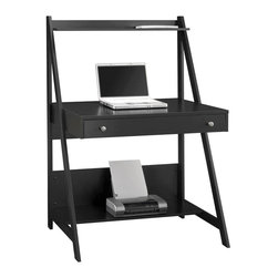 Bush - Ladder Desk - Clever ladder desk is ideal for small spaces such as kids' rooms, apartments, and condos.  Handsome contemporary design in modern black finish features a large work surface and functional lower and upper shelves.  Full-length drawer stores lots of supplies. Classic Black finish. Elegant, functional desk is perfect for small spaces. Large pull-out drawer has plenty of room for supplies. Expansive work surface. Bottom shelf can accommodate printer and paper. Top shelf holds books and speakers. Perfect for use with a laptop computer. 35.98 in. W x 23.19 in. L x 52.01 in. HIt's simple, practical and takes up a minimum of space, but Alamosa has more than enough to keep you organized and working efficiently.