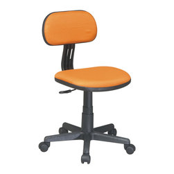 Orange Armless Computer Task Chair - This chair features a durable nylon base. The array of classic and fun colors coordinates with any space - the chair is available in black, blue, green, orange, pink, and purple.