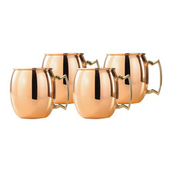 "(Set of 4 ) 24 Oz. Solid Copper Moscow Mule Mugs - This set of 4  Moscow Mule mugs are made of nickel-lined Solid Copper with solid brass handles.  These sturdy mugs feature a tarnish-resistant clear finish over the copper for lasting beauty and luster.  The mug of choice when serving the famous ""Moscow Mule"", a delicious cocktail made with vodka, ginger beer and lime juice (recipe included)."