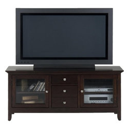 """Jofran - Fresno Merlot Contemporary 56"""" TV Stand With 2 Drawers and 2 Doors - Sleek, clean lines and simple shapes adorn this media cabinet's facade, giving it a sophisticated, contemporary appearance. This is wonderfully complimented by the Fresno Merlot finish that gives it its warm, casual feel. Along with its elegant style comes impeccable functionality. It features one extra-deep drawer below a smaller top drawer. These are perfect for storing audio and television accessories. Behind each of its two lovely transparent doors is an adjustable shelf, allowing you to easily fit multiple pieces of audio and television equipment of varying sizes. This makes for a brilliantly versatile and distinctly charming entertainment unit that fits in beautifully with any room in the house."""