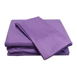 Divatex Home Fashions - Purple Twin Extra-Long Sheet Set Lilac Bedding - FEATURES: