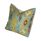 Peacock Ikat Pillow Cover - Peacock Ikat Pillow Cover, 20X20
