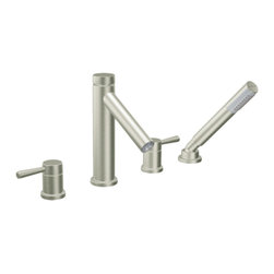 """Moen - Moen T914BN Brushed Nickel Roman Tub Trim With Hand Shower 8""""-16"""" Two-Handles - Moen T914BN is part of the Level bath collection. Moen T914BN has a Brushed Nickel finish. Moen T914BN is a Roman Tub Faucet Trim with hand shower 4-hole 8"""" - 16"""" installation. Roman Tub faucet is a deck-mount with 5 1/4"""" long and 8 15/16"""" high arc spout that provides more clearance and includes hot and cold indicators on the handles. Moen T914BN Roman Tub Trim with hand shower fits the MPact common valve system and requires Moen's 9992 or 9993 valve. Valve sold separately. Moen T914BN Roman Tub Faucet trim includes a single-function hand shower with built in diverter valve. Moen T914BN is approved by ADA. Brushed Nickel has a Lifeshine finish guarantee from Moen and provides style and durability. Moen T914BN metal lever handle meets all requirements ofADA ICC/ANSI A117.1 and CSA B-125, ASME A112.18.1M. Lifetime Limited Warranty and 5 Year commercial"""