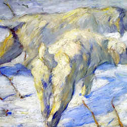 """Franz Marc Siberian Sheepdogs (also known as Siberian Dogs in the Snow) - 16"""" x - 16"""" x 24"""" Franz Marc Siberian Sheepdogs (also known as Siberian Dogs in the Snow) premium archival print reproduced to meet museum quality standards. Our museum quality archival prints are produced using high-precision print technology for a more accurate reproduction printed on high quality, heavyweight matte presentation paper with fade-resistant, archival inks. Our progressive business model allows us to offer works of art to you at the best wholesale pricing, significantly less than art gallery prices, affordable to all. This line of artwork is produced with extra white border space (if you choose to have it framed, for your framer to work with to frame properly or utilize a larger mat and/or frame).  We present a comprehensive collection of exceptional art reproductions byFranz Marc."""