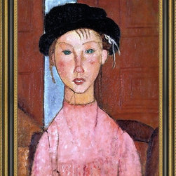 """Art MegaMart - Amedeo Modigliani Young Girl in Beret - 16"""" x 24"""" Framed Premium Canvas Print - 16"""" x 24"""" Amedeo Modigliani Young Girl in Beret framed premium canvas print reproduced to meet museum quality standards. Our Museum quality canvas prints are produced using high-precision print technology for a more accurate reproduction printed on high quality canvas with fade-resistant, archival inks. Our progressive business model allows us to offer works of art to you at the best wholesale pricing, significantly less than art gallery prices, affordable to all. This artwork is hand stretched onto wooden stretcher bars, then mounted into our 3 3/4"""" wide gold finish frame with black panel by one of our expert framers. Our framed canvas print comes with hardware, ready to hang on your wall.  We present a comprehensive collection of exceptional canvas art reproductions by  Amedeo Modigliani ."""