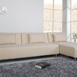 None - Atlanta Beige Convertible Sectional Sofa Bed - The multi-functional sectional sofa bed offers a contemporary design that adds comfort and style to your home. This sleek sofa bed features extra thick layers of cushioning and is upholstered in a durable premium fabric.
