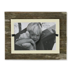 "Bambeco Reclaimed Weathered Coastal Wood Frame - Small - Imagine a walk on the beach, the weathered wood of a beach cottage, or found driftwood. Take that feeling home with the Reclaimed Weathered Coastal Wood Frame Small. These beautiful frames are handcrafted from reclaimed wood. Each one is unique, with different weathering, knots and coloring. Accented with burlap and colored backboards. The front-loaded frame features safe plexiglass, they will stand horizontally or vertically.  Made in the USA   Dimensions: 7"" x 9"", holds4"" x 6"" photo"