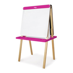 P'kolino - Little One's Easel, Fuchsia - Do you find your household notepads all filled up with your child's sketches? Maybe it's time to give the little artist her own creative space. Much bigger than a notepad but small enough for little hands, this child-size easel provides endless creative possibilities with a paper roll on one side and a chalkboard on the other. Got two little artists? They can each draw happily on one side.