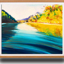 """Ann Rea - Bring home the Russian River with """"River Echos"""" by Ann Rea, Natural Frame, Small - """"Nature is thicker and more lush along the Russian River's edge.""""  -Ann Rea"""