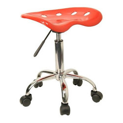 "FlashFurniture - ""FlashFurniture Vibrant Tractor Seat & Chrome Stool, Red"" - ""On the market for a stool but want to add a little color to your home or office? This sleek, modern stool conforms to several areas in the home or office. The molded tractor seat offers great comfort. The small frame design of this backless stool makes it easy to maneuver around tight spaces with ease. This stool can be used for a variety of reasons other than just at a desk and is offered at a very affordable price. [LF-214A-RED-GG].Dimensions (W x L x H): 15"""" x 17"""" x 25.75""""Weight: 12 lbs.Tractor stool, 17-inch width by 15-inch depth by 20-1/4 25-3/4-inch heightRed molded -inchtractor-inch seatHigh density polymer construction5-1/2-inch Height Range AdjustmentPneumatic seat height adjustment"""