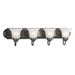 Progress Lighting - Builder Bath Antique Bronze Four-Light Elongated Racetrack-Style Bath Fixture wi - - Fixture can be installed facing upwards or downwards; Listed for damp locations  - Four-light Bath CFL in an Antique Bronze finish. With etched alabaster shades and an elongated racetrack-style backplate, this collection features a simple transitional design  - Four Light Bath  - Glass: Alabaster  - Finish/Color: Antique Bronze  - Product Width: 30  - Product Height: 7.25  - Product Height: 7.25  - Product Weight: 10.45  - Product Dept: 30  - Product Extension: 7.37  - Material: Steel  - Bulb included Progress Lighting - 943054-20EBWB