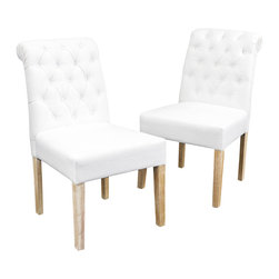Great Deal Furniture - Elmerson Roll Back Dining Chairs (Set of 2), White - The Elmerson Roll Back Dining Chair is beautifully constructed with a cushioned seat and tufted backrest. This chair features a rolled top for a classic touch and is neutral in color to match any decor. Place them in your dining space or use as accent chairs in your living room or bedroom.