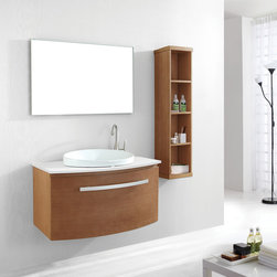 "Virtu USA - Virtu USA ES-1040 - Anabelle 40"" Single Sink Bathroom Vanity - The Anabelle features an elegant Euro-modern design with superb craftsmanship. The vanity is constructed from solid oak wood and finished with natural wood veneer. The Anabelle is equipped with designer brand BLUM soft closing drawers. A large artistic basin provides a contrasting color balance. The vanity is available in Chestnut, Espresso or Walnut finishes with the option of quartzite or artificial white stone countertop. The completed set includes an aluminum framed mirror. Nothing short of perfection, the Anabelle vanity is a gorgeous centerpiece to any bathroom."