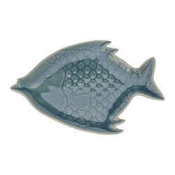 Kouboo - Celadon Fish Serving Plate - Who would not notice your serveware if it comes in the shape of a fish? Serving platters like this one show your creative side in decorating as well as your love for details. The crackle finish of the ancient Celadon finish is just one example.