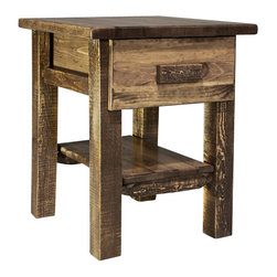 "Montana Woodworks - Montana Woodworks Homestead Nightstand with Drawer in Stained and Lacquered - From Montana Woodworks, the largest manufacturer of handcrafted quality log furnishings in America comes the all new Homestead Collection line of furniture products. Handcrafted in the mountains of Montana using solid, American grown wood, the artisans rough saw all the timbers and accessory trim pieces for a look uniquely reminiscent of the timber-framed homes once found on the American frontier. The drawer measures 11.5""W x 16.5""D x 5.25""H (Inside measurements)And is ideally suited for holding the many small things found around the home. Comes fully assembled. 20-year limited warranty included at no additional charge."