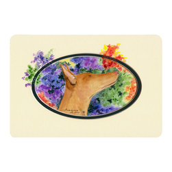 Caroline's Treasures - Pharaoh Hound Kitchen or Bath Mat 24 x 36 - Kitchen or Bath Comfort Floor Mat This mat is 24 inch by 36 inch. Comfort Mat / Carpet / Rug that is Made and Printed in the USA. A foam cushion is attached to the bottom of the mat for comfort when standing. The mat has been permanently dyed for moderate traffic. Durable and fade resistant. The back of the mat is rubber backed to keep the mat from slipping on a smooth floor. Use pressure and water from garden hose or power washer to clean the mat. Vacuuming only with the hard wood floor setting, as to not pull up the knap of the felt. Avoid soap or cleaner that produces suds when cleaning. It will be difficult to get the suds out of the mat.