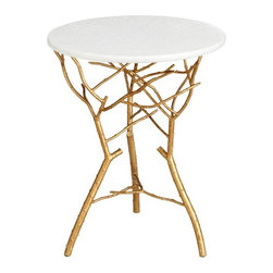 Cyan Design - Langley End Table - Features: -Color: Gold Leaf. -Material: Iron and granite. -Transitional style.
