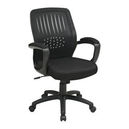 Office Star - Screen Back Chair w Mesh Seat and Mesh Padded - Breathable screen back with built-in lumbar support. One touch pneumatic seat height adjustment. Locking tilt control with adjustable tilt tension. Padded armrests. Heavy duty Nylon base with dual wheel carpet casters. Black mesh. 25 in. D x 26.75 in. W x 42 in. H