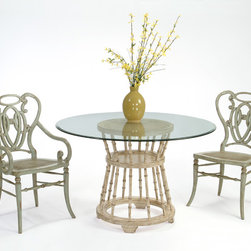 """JC802/48RGTB Lucry's Perch Dining Table Base & 40"""" Glass Top - Lucy's Perch Dining Table with Wampee Arm and Side Chair"""