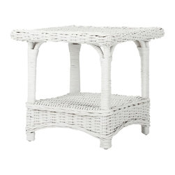 Safavieh - Bowen Side Table - In the charming Bowen Side Table, a classic country form is updated for transitional interiors in a combination of white kubu wicker and rattan. Entirely wrapped and woven with rope detail edges, this accent piece is ideal beside a chair or sofa.