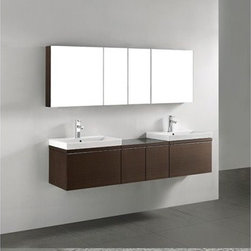 """Madeli - Madeli Venasca 72"""" Double Bathroom Vanity - Walnut - Madeli brings together a team with 25 years of combined experience, the newest production technologies, and reliable availability of it's products. Featuring sleek sophisticated lines Madeli vanities are also created with contemporary finishes and materials. Some vanities also feature Blum soft-close hardware. Madeli also includes a Limited 1 Year Warranty on Glass Vessels, Basin, and Counter Tops. Sleek, modern and sophisticated, the Venasca Collection features a wall hung cabinet in a rich Walnut finish accented with decorative, polished chrome handles. A slight pull on the full length handles reveals spacious, full-extension, storage drawers with Blum soft-closing hardware. Add to this a luxurious polyurethane-protected finish and you end up with a stylish and functional piece worthy of being the centerpiece of your dream bathroom. Features Two (2) base vanities, each with Blum Soft Close hinge pull-out drawer, wall hung Center bridge cabinet, includes two (2) Blum Soft Close hinge pull-out drawers, wall hungWalnut finish Polished Chrome finish handle White or Biscuit Porcelain Basins with overflow for a single-hole faucet Tempered Glass Basin without overflow for a single-hole faucet Faucets and drains are not included Matching mirrors and medicine cabinet sets available Limited 1 Year Warranty on Glass Vessels, Basin, and Counter Tops How to handle your counter Spec Sheet Installation Instructions"""