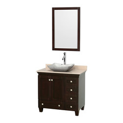 """Wyndham Collection - 36"""" Acclaim Single Vanity w/ Ivory Marble Top & Avalon White Carrera Marble Sink - Sublimely linking traditional and modern design aesthetics, and part of the exclusive Wyndham Collection Designer Series by Christopher Grubb, the Acclaim Vanity is at home in almost every bathroom decor. This solid oak vanity blends the simple lines of traditional design with modern elements like beautiful overmount sinks and brushed chrome hardware, resulting in a timeless piece of bathroom furniture. The Acclaim comes with a White Carrera or Ivory marble counter, a choice of sinks, and matching mirrors. Featuring soft close door hinges and drawer glides, you'll never hear a noisy door again! Meticulously finished with brushed chrome hardware, the attention to detail on this beautiful vanity is second to none and is sure to be envy of your friends and neighbors"""
