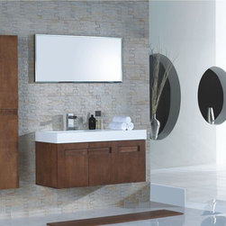 """Maiori Modern Bathroom Vanity Set 43"""" - The Maiori is a contemporary bathroom vanity set that embraces the latest trend in luxury modern bathroom design by choosing to incorporate sophisticated designs and shapes into every bathroom."""