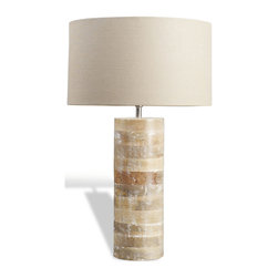 Kathy Kuo Home - Sagamore Modern Rustic White Wash Wood Lamp - Subtle neutrality and the organic contrast of wood slices are brought beautifully into light.  Utterly modern, rustic and unfussy, this piece would work seamlessly into country homes, weekend cabins, beach homes and contemporary city dwellings.