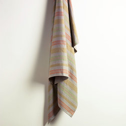 ANICHINI Baltic Linen Towels - Our newest addition to the collection, Baltic is a 100% linen twill weave towel. Modern, yet rustic, the irregular stripes of gold, apple green, and orange on a natural linen background are perfect in any surroundings. All sizes have loops for hanging.