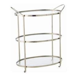Arteriors - Arteriors 3077 Connaught Bar Cart - Arteriors 3077 Connaught Bar Cart made with Polished Nickel/Clear Glass.