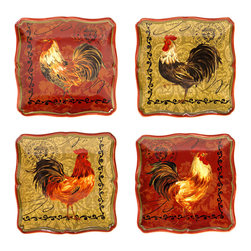Certified International - Certified International Assorted Design Tuscan Rooster 5.75-inch Canape Plate (S - Sure to charm your guests,this set of four rooster plates is an entertaining way to serve up your best dishes. Dishwasher and microwave safe,these plates feature amiable roosters on each plate for a pastoral touch.