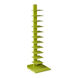 Holly & Martin - Holly & Martin Heights Book/Media Tower, Lime Green - Brighten your home with a splash of color! This upbeat media tower works as an artistic focal point in any room. The vertical design saves valuable space and works well in large or small places. This tower features 11 metal shelves for storing books, magazines, movies, or decorative items. The bright, lime green painted finish and powder-coated metal combine for long-lasting quality. This extremely versatile tower works as a bookshelf in the bedroom, a media stand for the family room, or even as a towel stand in the bathroom. The bold color works best in transitional to modern homes. Please note: Our photos are as accurate as possible, but color discrepancies may occur between the product and your monitor. The handcrafted touch of artisan skill also creates variations in color, size, and design; slight differences should be expected.