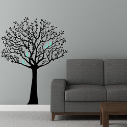Whimsical Tree Decal With Cute Birds