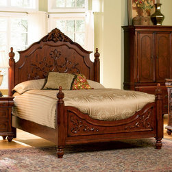 "Coaster - Isabella Eastern King Size Bed With Oak Carving - The Isabella Bedroom collection is crafted from select hardwoods accented by Oak veneers.; Transitional Style; Isabella Collection; Oak finish; Made of poplar hardwoods accented by oak veneers.; Some assembly required.; Dimensions: 89.25""L x 82""W x 72.25""H"