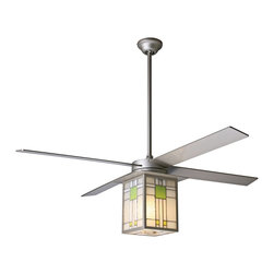 """Period Arts - Arts and Crafts - Mission 42"""" Prairie Nickel and Stained Glass Ceiling Fan - The Prairie fan was inspired by Frank Lloyd Wright's gorgeous window designs from the early 20th Century. These hand-assembled light kits highlight the beauty of the glass with subtle hues. Although authentic in design and appearance this fan offers modern motor design electronic controls and a lifetime motor warranty. It features a textured nickel finish motor with matching blades. From the Period Arts Fan Company. Textured nickel finish motor. Four nickel finish blades. Stained glass light kit. Lifetime manufacturer motor warranty. Includes combo remote/wall control. Light kit takes one 75 watt G9 halogen bulb (not included). Overall height 18"""" to 24"""". Includes 3"""" and 9"""" downrods. Canopy 5 1/4"""" wide. 42"""" blade span.  Textured nickel finish motor.  Four nickel finish blades.  Stained glass light kit.  Lifetime manufacturer motor warranty.  Includes 3-speed wall control and hand-held remote system.  Includes one 75 watt G9 halogen bulb.  Overall height 18"""" to 24"""".  Includes 3"""" and 9"""" downrods.  Canopy 5 1/4"""" wide.  42"""" blade span."""