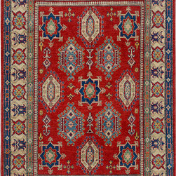 """ALRUG - Handmade Red Oriental Kazak Rug 5' 10"""" x 8' 8"""" (ft) - This Afghan Kazak design rug is hand-knotted with Wool on Cotton."""