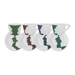 Lino Street Espresso Cups, Conversation Piece, Set of 4