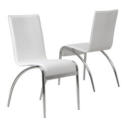 Great Deal Furniture - Aude Modern Design Dining Chairs, Set of 2 - Midcentury modern curves and stark white leather upholstery, make this pair of dining chairs a thing of Jetsonian proportions! They're sleek enough to employ as dining chairs, but comfortable enough to use as office chairs.