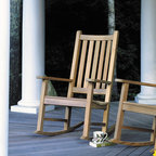 """Kingsley Bate - Charleston Rocking Chair - A combination of ergonomic comfort and solid Teak, our high backed rocker can stay on your porch year round without deterioration. Additional Information: -Includes Charleston Rocker - Ships within 24 hours. -Constructed of solid Teak. -Seat height: 16"""". -Overall dimensions: 32""""L x 23""""W x 42""""H. About Kingsley-Bate and Teak British craftsmen of the 18th century discovered what their Eastern counterparts had known for centuries, that teak has qualities unlike any other wood. It's ability to withstand the rigors of adverse climate, yet weather attractively, make it the ideal choice for outdoor furniture. As America's leading manufacturer of teak outdoor furniture, we use only premium quality teak and precise mortise and tenon joinery in the construction of our furniture. Kingsley-Bate also leads the way in the responsible manufacture of its furniture. Kingsley-Bate is the first American company to use Javanese teak in the manufacture of its furniture. Our teak is harvested from carefully controlled plantations, established in Indonesia by the Dutch in the Mid-19th century. Due to the increasing demand for this beautiful hardwood, Kingsley-Bate now uses a select amount of Burmese teak in its productions. Whether Javanese or Burmese, you can be assured that we use only the finest quality teak in our furniture. Manufactured with precise mortise and tenon joinery, the furniture is shipped partially assembled. The factory fully assembles each piece prior to shipment to ensure that reassembly will take a minimum of effort and all pieces will fit together to our precise specifications. Some Kingsley-Bate projects of note include: Disney World, Hyatt Regency, Boston Symphony Orchestra-Tanglewood, Newport Aquarium, Biltmore Estate, Chicago Botanical Gardens, University of California-Berkley, and M.I.T. Limited Warranty Information: With proper use and care, Kingsley-Bate is confident that their products will provide you with years of t"""