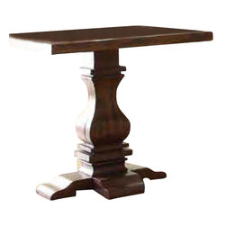 Homelegance - Homelegance Marie Louise Pedestal End Table in Rustic Brown - With inspiration drawn from traditional French decorative accents, the effortlessly elegant Marie Louise Collection adds warmth and charm to your living room. Classic urn single and double pedestal trestle base acts as the focal point of this occasional collection. The rustic burnished brown finish on the pine veneers hints of time gone by complimenting the casually elegant tables perfectly.