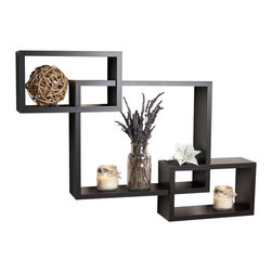 "Danya B. - Intersecting Wall Shelf, Walnut - Intersecting� Wall Shelf. Provides three storage cubbies plus level display space on top.��With its contemporary walnut, black or classic white finish, they are the ideal accent for any living space.�� Easy to install with no visible connectors or hanging hardware. All hardware included.� Overall measures: 26.5 x18.75 x4""."