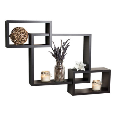 """Danya B. - Intersecting Wall Shelf, Walnut - Intersecting� Wall Shelf. Provides three storage cubbies plus level display space on top.��With its contemporary walnut, black or classic white finish, they are the ideal accent for any living space.�� Easy to install with no visible connectors or hanging hardware. All hardware included.� Overall measures: 26.5 x18.75 x4""""."""