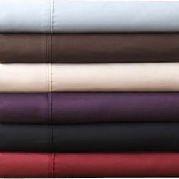"""Bed Linens - 1500 Series Egyptian Quality, Deep Pocket 4PC Sheet Set, Eggplant, Queen - Exceptionally comfortable sheet sets made of high strength ultra-thin microfiber yarns that will stay silky softness and support a long night sleep. Lasting vibrancy colors and luxurious finish build the ultimate look. The oversized dimensions fits mattresses up to 17"""" deep with fully elasticized fitted sheet."""