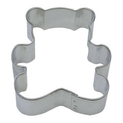 RM - Teddy Bear 3 In.  B750 - Teddy Bear cookie cutter, made of sturdy tin, Size 3 in., Depth 7/8 in., Color silver