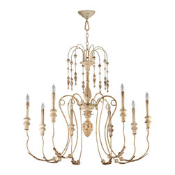 """Kathy Kuo Home - Maison French Country Antique White 8 Light Chandelier - The Maison Chandelier brings the French countryside to every room. Constructed from wrought iron finished in a proprietary """"Persian White"""" finish add antiqued elegance to this eight light chandelier. Sophistication meets country classic at its best."""