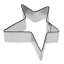 HOF - Star Primitive 3 In. B1293 - Star Primitive cookie cutter, made of sturdy tin, Size 3 in., Depth 7/8 in., Color silver