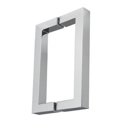 "Square Shower Door Pull Pair - The modern appearance of this handleset comes from the clean, sharp lines and right angles. The 8"" Square Center to Center Back to Back Pull is made of 3/4"" square brass tubing. A pair of handles, it comes with back to back mounting that is great for glass doors such as shower doors. Available in polished chrome, brushed nickel, or oil rubbed bronze finishes."